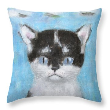 Kitten With Three Clouds Throw Pillow