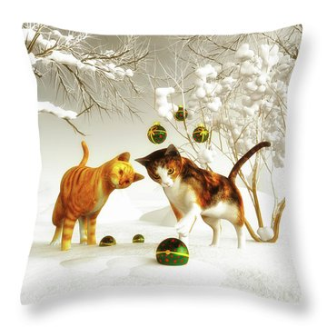 Kittens At Christmas Throw Pillow