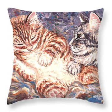 Kittens Sleeping Throw Pillow by Linda Mears