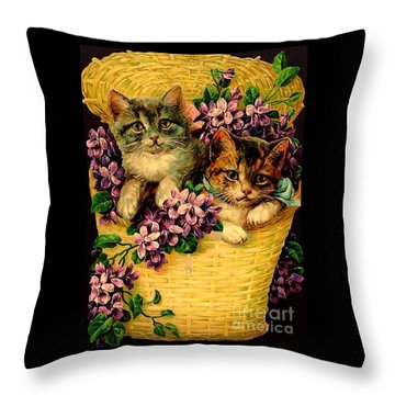 Kittens With Violets Victorian Print Throw Pillow