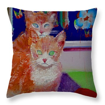 Kittens With Wild Wallpaper Throw Pillow by Charles Stuart