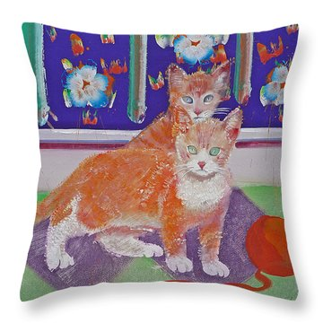 Kittens With Wild Wool Throw Pillow by Charles Stuart