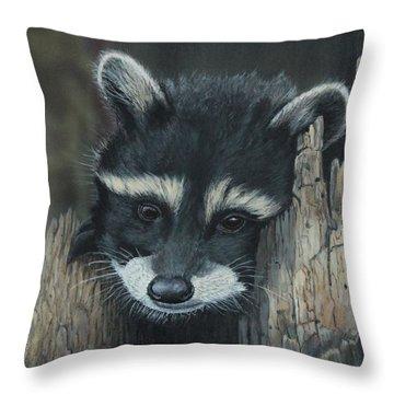 Kit...the Baby Raccoon Throw Pillow