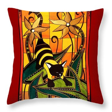Throw Pillow featuring the painting Kitty Bee - Cat Art By Dora Hathazi Mendes by Dora Hathazi Mendes