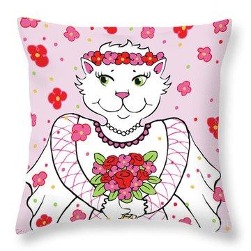Kitty Bride Throw Pillow