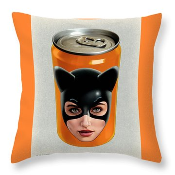 Kitty Can 2 Throw Pillow by Udo Linke