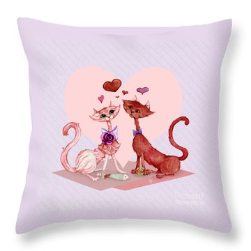 Kitty Cat Love Throw Pillow
