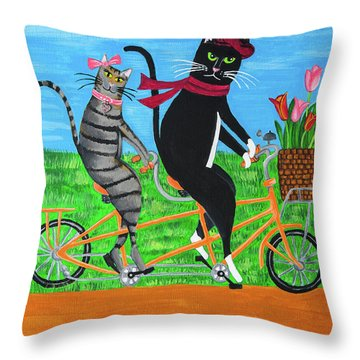 Kitty Cat Outing Throw Pillow