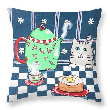 Kitty Cat Tea Time Throw Pillow