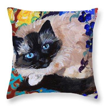 Kitty Goes To Paris Throw Pillow