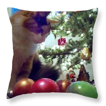 Kitty Helps Decorate The Tree Christmas Card Throw Pillow