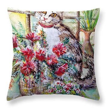 Kitty In The Window Throw Pillow by Linda Shackelford