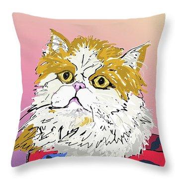 Kitty In Tuna Can Throw Pillow