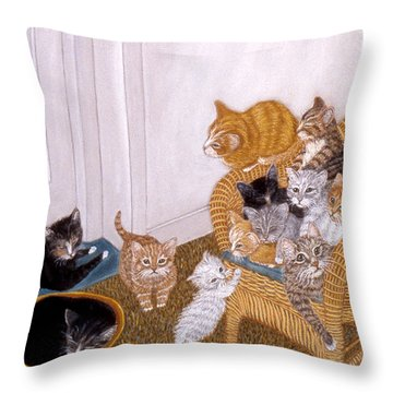 Throw Pillow featuring the painting Kitty Litter II by Karen Zuk Rosenblatt