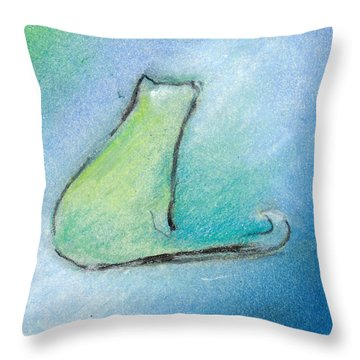 Kitty Reflects Throw Pillow by Valerie Reeves