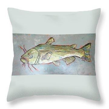 Kitty The Catfish Throw Pillow