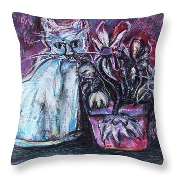 Kitty With Flowers Throw Pillow