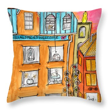 Kittyscape Hotel Throw Pillow