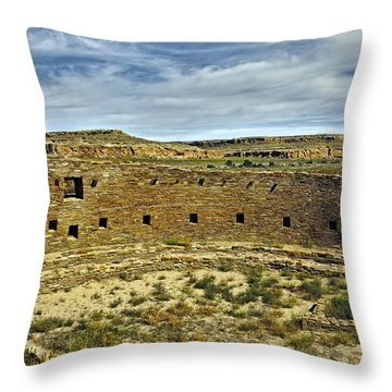 Throw Pillow featuring the photograph Kiva View Chaco Canyon by Kurt Van Wagner