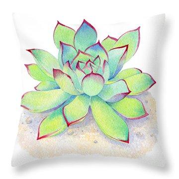 Kiwi Aeonium Throw Pillow