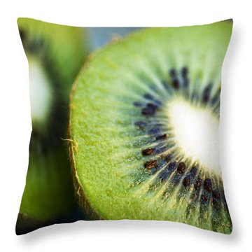 Kiwi Fruit Halves Throw Pillow