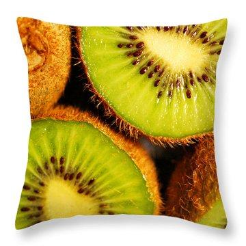 Kiwi Fruit Throw Pillow by Nancy Mueller