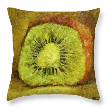 Throw Pillow featuring the painting Kiwifruit by Dragica  Micki Fortuna