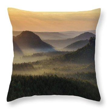 Kleiner Winterberg Silhouettes, Saxon Switzerland, Germany Throw Pillow