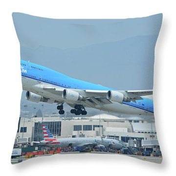 Throw Pillow featuring the photograph Klm Boeing 747-406m Ph-bfh Los Angeles International Airport May 3 2016 by Brian Lockett