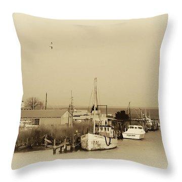 Knapps Narrows Tilghman Island Throw Pillow by Bill Cannon