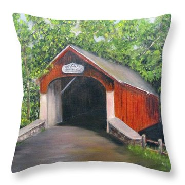 Knechts Covered Bridge Throw Pillow by Loretta Luglio
