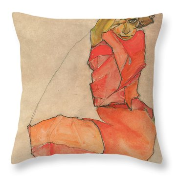 Kneeling Female In Orange-red Dress Throw Pillow