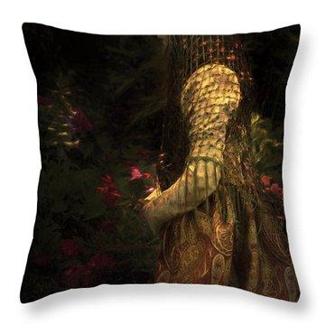 Kneeling In The Garden Throw Pillow