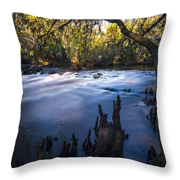 Knees In The Rapids Throw Pillow
