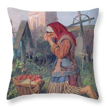 Knelt In Prayer Throw Pillow