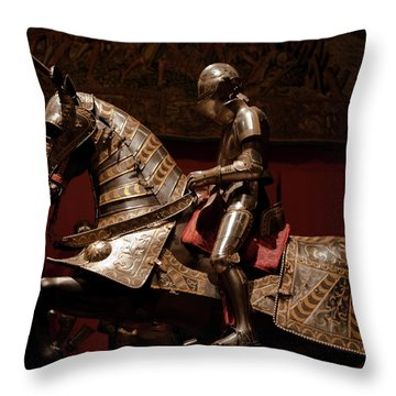 Knight And Horse In Armor Throw Pillow by Lorraine Devon Wilke