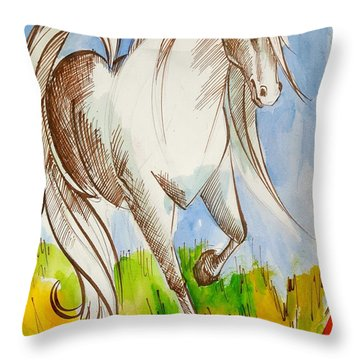 Chess Art.white Knight.horse .chess Piece. History Of Chess Map. Throw Pillow