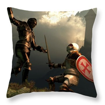 Knight Fight Throw Pillow