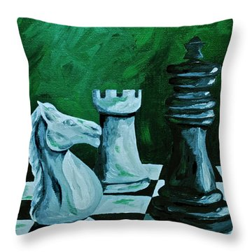 Knight Takes King Throw Pillow by Herschel Fall