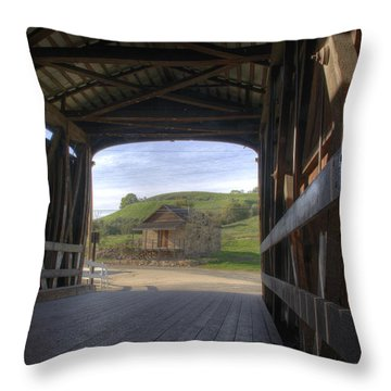 Knights Ferry Covered Bridge Throw Pillow by Jim And Emily Bush