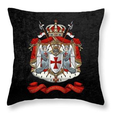 Knights Templar - Coat Of Arms Over Black Velvet Throw Pillow