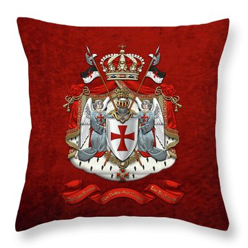 Knights Templar - Coat Of Arms Over Red Velvet Throw Pillow
