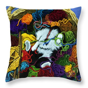 Throw Pillow featuring the painting Knitter's Helper - Cat Painting by Linda Apple