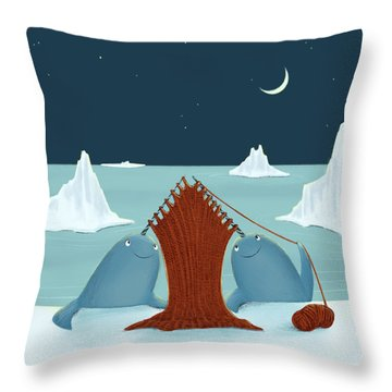 Knitting Narwhals Throw Pillow