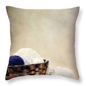 Knitting Supplies Throw Pillow by Stephanie Frey