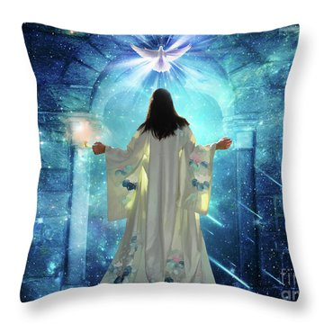 Knocking On Heavens Door Throw Pillow by Dolores Develde