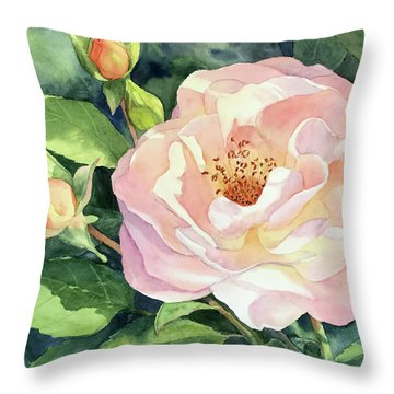 Knockout Rose And Buds Throw Pillow by Vikki Bouffard