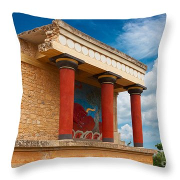 Knossos Palace At Crete, Greece Throw Pillow