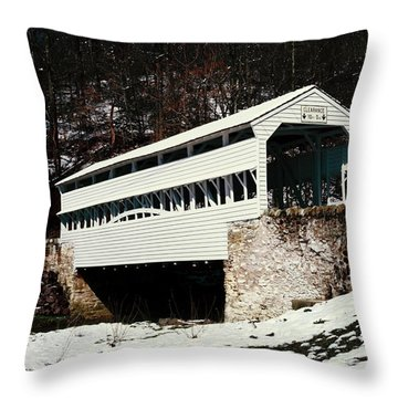 Knox Covered Bridge Historical Place Throw Pillow by Sally Weigand