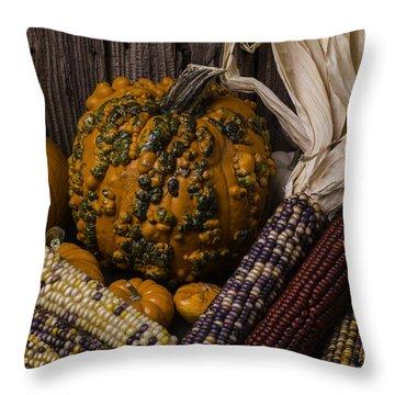 Knuklehead Pumpkin And Indian Corn Throw Pillow